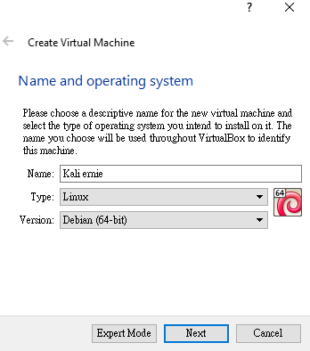 Installation of Kali Linux in Virtual Box